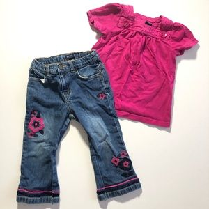 2 Years GAP girl Outfit Blue Jeans Pink Shirt